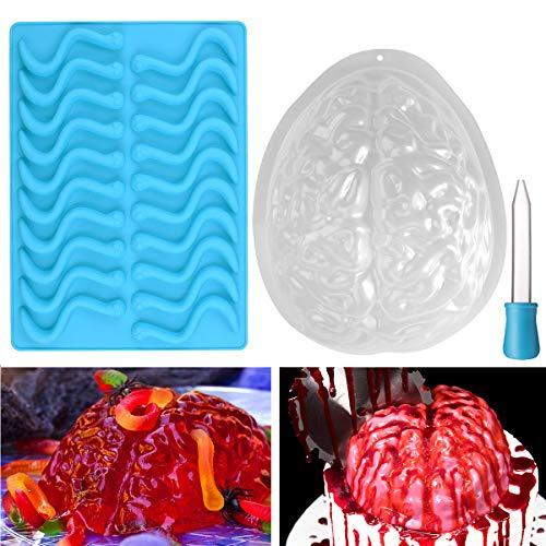 Bestonzon Set mit 2 Gelee-Formen für Halloween, Gehirn- und -Gummiwurm-Form, für Halloween oder Mottopartys