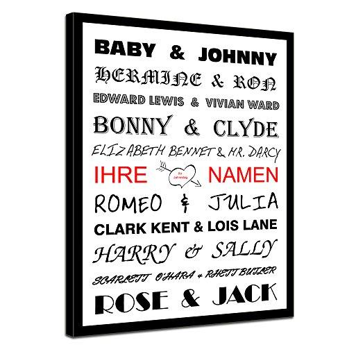 Leinwandbild mit Spruch - Liebespaare Film mit persönlichem Jahrestag - personalisierbar mit Ihren Namen - 40x50 cm - Sprüche und Zitate - Kunstdruck mit Sprichwörtern - Vers - Bild auf Leinwand