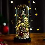 Lucoss Indoor Palla di Natale in Vetro Artificiale Albero di Natale Piccolo con Illuminazione LED Catene Luminose Desktop Regalo per casa Festa Vacanza Decorazione con Vetro Scudo, Base in Legno
