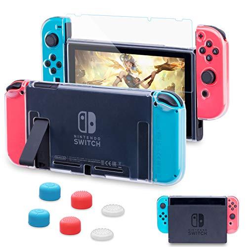 HEYSTOP Custodia per Nintendo Switch Cover Protettiva Trasparente e Switch Pellicola Protettiva Utilizzabile nel Dock con 6 Copri Analogico