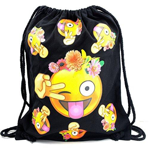 Imagen de premyo bolsa de cuerdas negra 100% algodón con emoji smiley lengua flores.  con cuerdas con impresión emoticon en color de alta calidad. gymsac con cordón. saco de gimnasio ideal para viajar alternativa
