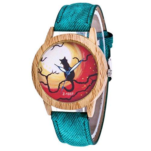 duhr Halloween Stil Analoge Quary Uhr mit Batterie Holz Maserung Katze Muster Grün (Halloween-uhr)