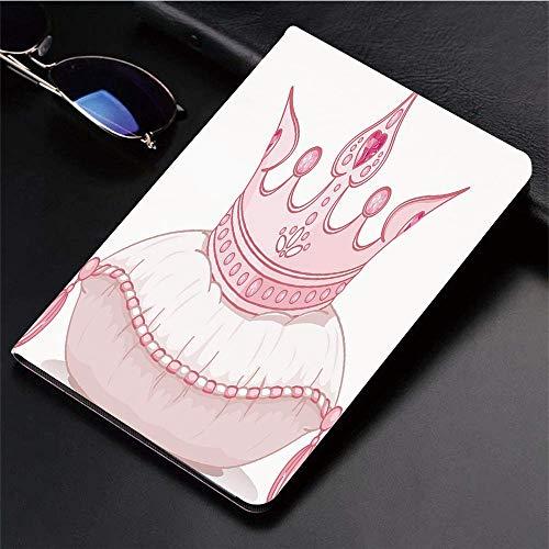 ad (9,7 Zoll, Modell 2018/2017, 6. / 5. Generation),Königin, Cartoon-Stil süße rosa Prinzessin Krone,Ultra Slim Cover Schutzhülle PU Lederhülle/mit Auto Sleep Wake Up Funktion ()