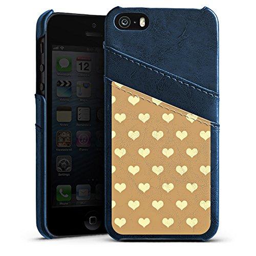 Apple iPhone 5s Housse Étui Protection Coque Petit c½ur Beige Polka Étui en cuir bleu marine