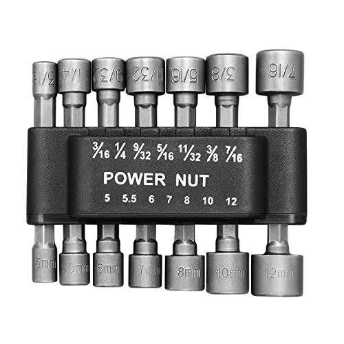bestomz 14pcs 5 - 12 mm Imperial Socket Nut Impact Driver Adapter Drill Bit 1/4 Inch Sechskantschaft Toolkit Nut Driver Socket Bit Set