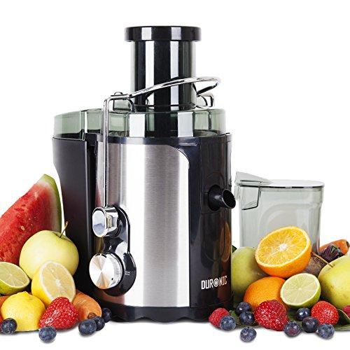 Duronic JE5 Licuadora para Frutas y Verduras 500 W Boca Ancha de 70 mm con 2 Velocidades y Función Pulso Contenedor de Pulpa y Contenedor de Jugo Zumos Naturales Batidos Smoothies