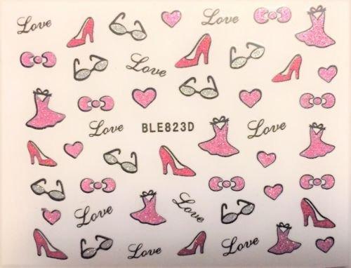 Nail art scrapbooking stickers autocollants pour ongles motifs saint valentin coeurs love robes