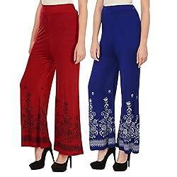 Haniya Free Size Combo of Printed Viscose Palazzos for Women (Red & Blue)