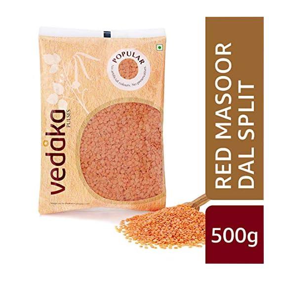 Amazon Brand - Vedaka Popular Red Masoor Dal Split, 500g