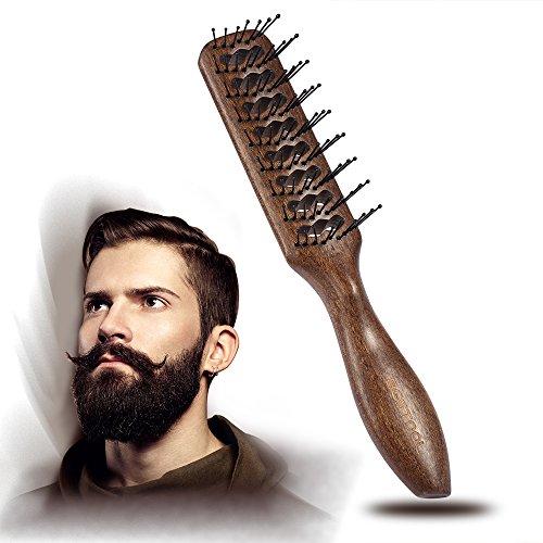BESTOOL Haarbürste Rund Nylon Borsten Großer Tunnel Antistatischer Fön Trockner Wooden Vent Wet Brush für Männer und - öl Massieren Kopfhaut