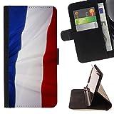 FJCases Frankreich Französisch Wehend Flagge Tasche Brieftasche Hülle Schale Standfunktion Schutzhülle für LG Stylus 2 / Stylo 2