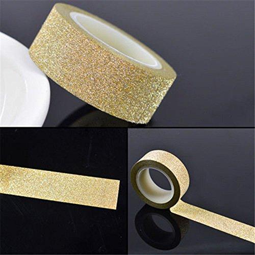 WRITIME 1.5m x 5m Handwerk Glitter Washi band Buch Dekoration DIY selbstklebendes Papier Scrapbook Sticker, Golden