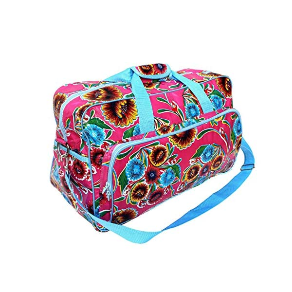 Weekender bag for gym, travel and fitness, waterproof, oilcloth, handmade, vintage pattern with Flowers - Dulce Flor - handmade-bags