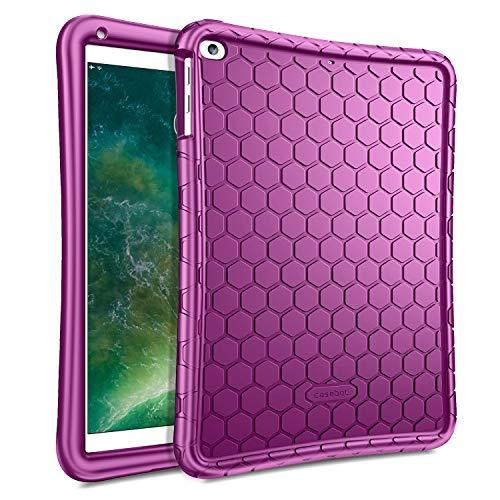 Fintie Silikon Hülle für iPad 9.7 Zoll 2018 2017 / iPad Air 2 / iPad Air - [Bienenstock Serie] Leichte rutschfeste Stoßfeste Schutzhülle Tasche Case Cover, Lila