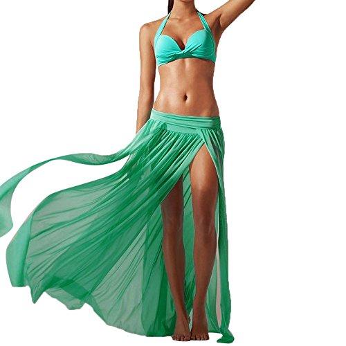 CryLee Sommer Damen Beach Kleid Partykleid Lang Chiffon High Waist SleevelessFrauen Stretch Chiffon Strandkleid (Grün) - Am Besten Lange Tragen Lippenstift