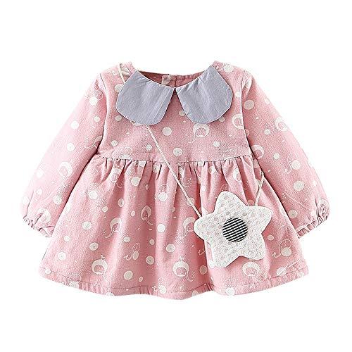 Elecenty Abbigliamento per Bambina Elegante Manica lunga neonata appena nata Dot Bowknot Princess Dress Clothes Outfits (12 mesi, Rosa 2)