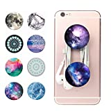 Mobile, tablet, phablet hand holder grip cum stand ( Set of 2 Multicolor ) cum headphone / earphone wire organizer by Meya Happy™ ( popsocket organiser )