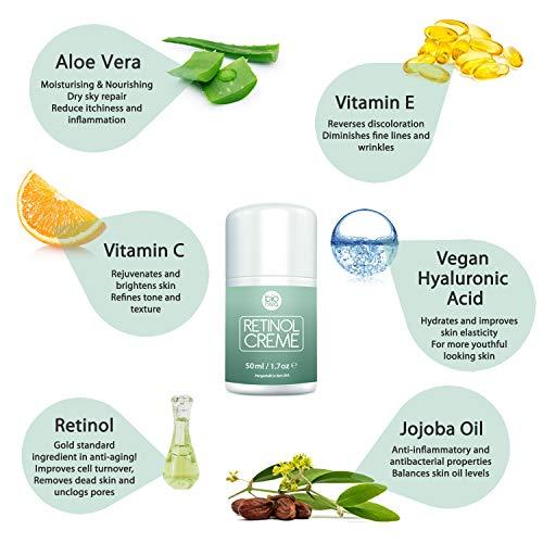 Bionura Retinol Feuchtigkeitscreme Creme mit 2,5% Retinol, 15% Vitamin C & 5% Hyaluronsäure – Der effektivste Natürliche Anti Aging & Anti Falten Retinol Feuchtigkeitsbehandlung ohne die irritierenden Nebenwirkungen. 50 ml - 6