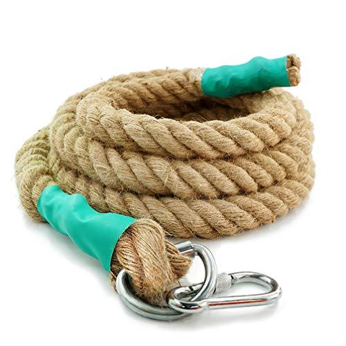 Aoneky Cuerda de Escalada de Yute con Clip Mosquetón - 30/40/50mm, 3-9m Cuerda de Seguridad Profesional para Escalar Trepar Ejercicio Entrenamiento Fitness, Accesorios Deportivos de Gimnasio, 30mm×3m