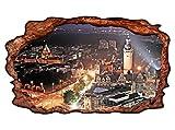 3D Wandmotiv Leipzig Skyline Schloss Fenster Bild Wandbild selbstklebend Wandtattoo Wohnzimmer Wand Aufkleber 11E274, Wandbild Größe E:ca. 168cmx98cm