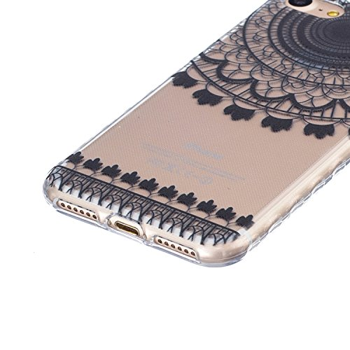 Coque Housse pour iPhone 7/iPhone 8, iPhone 7/iPhone 8 Coque Silicone Etui Housse, Galaxy S6 Souple Coque Etui en Silicone, iPhone 7/iPhone 8 Silicone Transparent Case TPU Cover, Ukayfe Etui de Protec Campanula Noir