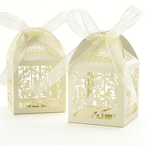 PETSOLA 50pcs Vogel Candy Geschenkbox Mit Band Hochzeit Partei Begünstigt Dekoration (Partei Hochzeit Begünstigt Einzigartige)
