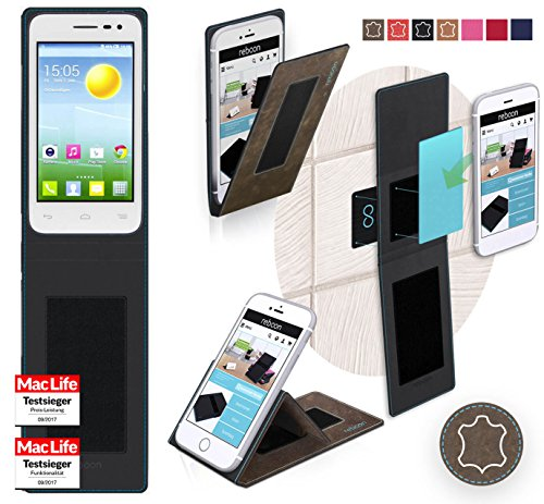 reboon Hülle für Alcatel OneTouch Pop S3 Tasche Cover Case Bumper | Braun Wildleder | Testsieger