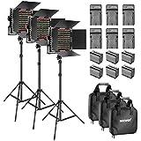 Neewer 3 Dimmable Bicolor-660 Video LED-Videoleuchte mit Barndoor und 6,5 Fußstützen 6 6600 mAh Lithium-Batterien Ladegerät für Foto Studio YouTube Video Riprese(Rot)