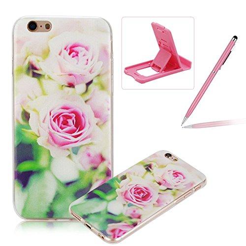 Per iPhone 6 Plus/ 6S Plus Custodia morbido,Herzzer Mode Crystal Creativo Elegante Fenicottero Quadro Dipinto Design trasparente case cover,Protettivo Skin in Liscio Smooth Toccare Unico Molto sottile Rosa Rose