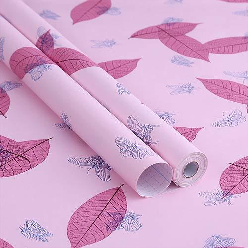 Schlafsaal Tapete Tapete selbstklebende PVC wasserdicht Schlafzimmer warme Möbel Hintergrund Wand niedlich College Girl rosa Schmetterlingsblätter (0,6 m * 5 m) 0,53 * 9,5 m