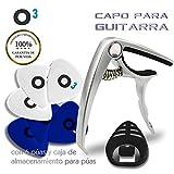 O³ Capo Guitarra Española - Acústica - Clásica + 6 Púas (3 * 0,46 mm + 3 * 0,71 mm) + Caja Para Púas | Cejillas Guitarra Española - Cejilla Guitarra Acústica - Electrica - Ukulele