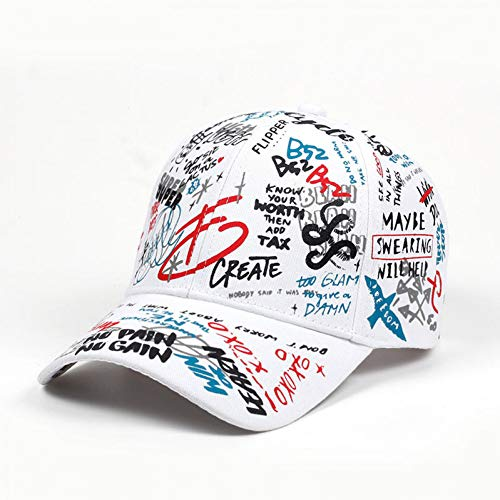 all Cap Graffiti Sun Caps Hip Hop Visier Hut verstellbare Snap-Back Hüte für Frauen Golf Caps,Weiss ()