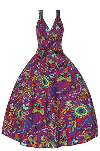 Femmes Années 1950 Rétro Vintage Funky Floral Pop Art Robe Évasée Pourpre