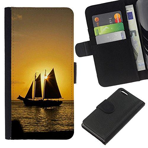 Ihec-Tech / Flip étui Housse en cuir avec des fentes de cartes pour Apple iPhone 5C - Sunset Ship Beautiful Nature 10
