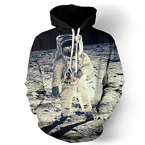 2017 New Fashion Cap Hoodies For Men/Women 3d Sweatshirt Print Astronaut Moon Landing Hooded Hoodies Pullover Hoody,JH0004,XL