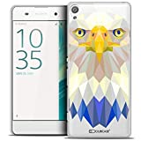Caseink - Coque Housse Etui pour Sony Xperia XA [Crystal HD Polygon Series Animal - Rigide - Ultra Fin - Imprimé en France] - Aigle