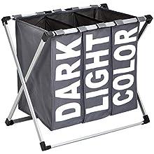 AmazonBasics Triple Laundry Basket Hamper, Dark Grey