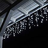 Tenda luce LED colore bianco freddo esterno tenda luminosa a cascata illuminazione natale 12 metri 600 lampadine LED per Giardino, Terrazza, Balcone, Casa, Grondaia