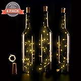 4 PCS LED di sughero bottiglia luci, Tappo del vino bottiglia fata luci String Luci 30in (75cm) Silver filo Con 15 lampadine a LED per la decorazione della bottiglia fai da te, barbecue, riunirsi, fes