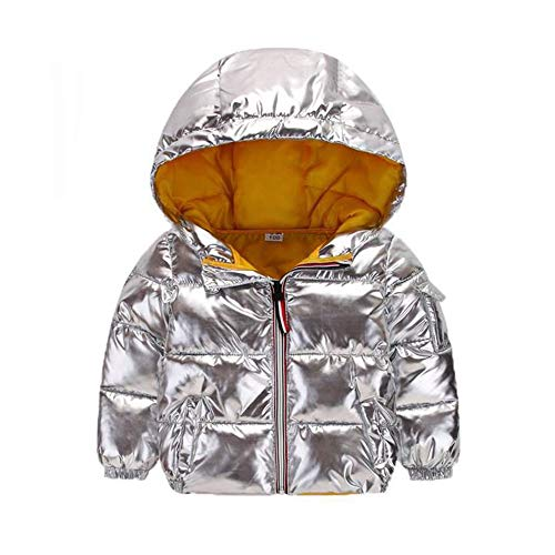 Ohbabyka Teen Baby Boys Girls Winter Clothes,Cotton Waterproof Hooded Zipper Jacket Coat (Silver, 140) Hooded Duffle Coat