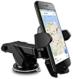 #8: Universal Car Mobile Holder/Long Neck One Touch Car Mount 360° Rotation with Ultimate Reusable Suction Cup for Car Dashboard/Car Windshield/Desktop