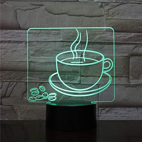 Mozhate Kaffeetasse USB 3D Led Nachtlicht Multicolor RGB Dekorative Lichter Jungen Kind Kinder Baby Geschenke Kaffeebohnen Tischlampe Nacht,Coffee Cup Anna Cup