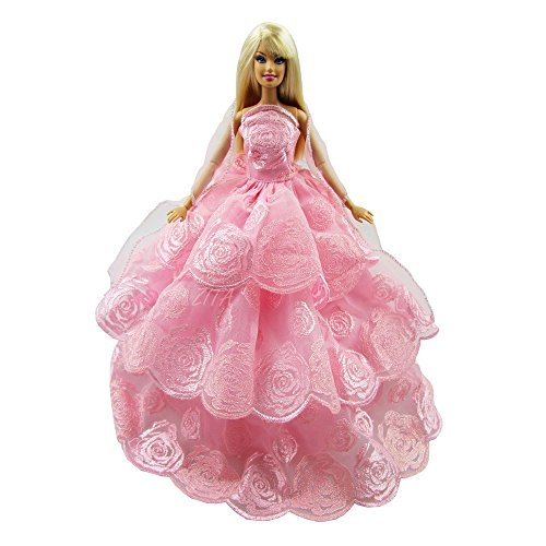 Purple Christmas Holiday Kleid (Handmade Quality Multi-layer Princess Wedding Party Gown Dress for Barbie Clothes Gift- PINK COLOR XMAS GIFT)