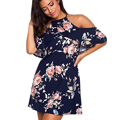 Kleid-FRIENDGG, Frau Damen Sommer Blumen Kleid Mode Rüschen Ärmel Aus Schulter Minikleid Strand Beiläufig Party Kleid (S) (Sleeveless Woven Pullover)