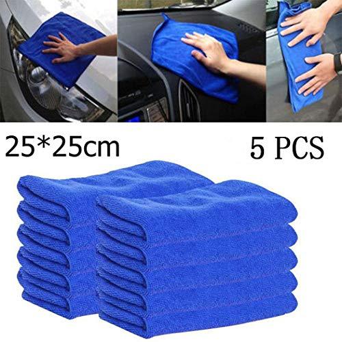 Keptei 5 x Mikrofaser Tücher Tuch Mikrofaser-Reinigungstücher Spültuch Microfaser für Autopflege 25x25cm (Blau)