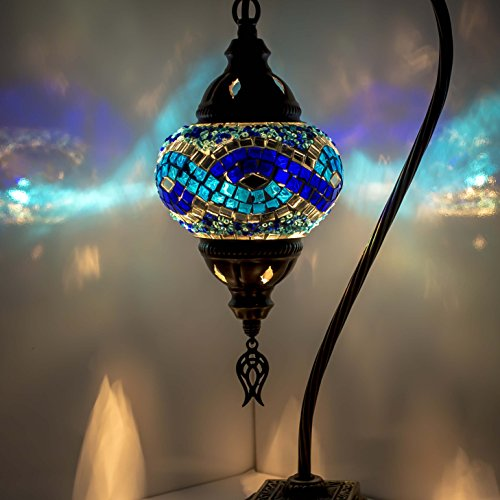Mosaic Lamp - Turkish Mosaic Table & Desk Lamp,Stunning Moroccan Style, Unique Globe Lampshade, Swan Neck Series (dark blue)