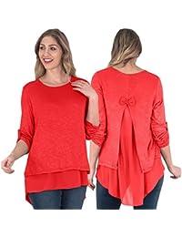 0a18ab53f33 Love My Fashions®Womens Split Back Italian Rolled Sleeve Chiffon Ladies 2  Layer Plain Blouse