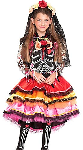 Fancy Me Italien hergestelltes Mädchen Deluxe Day of The Dead Sugar Skull Halloween Karneval Kostüm Outfit