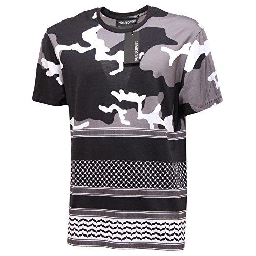 2859Q maglia uomo NEIL BARRETT nero/grigio/bianco t-shirt men [L]