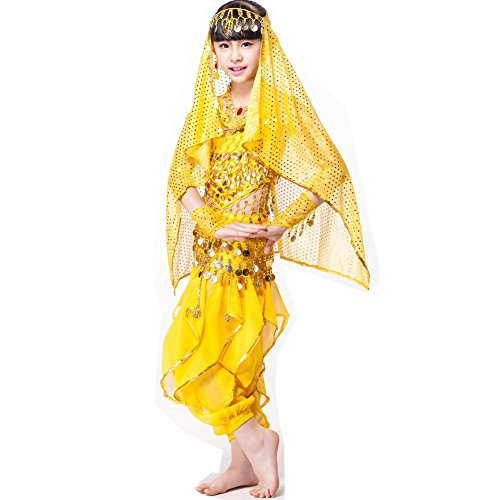 Byjia Indische Kinder Bauchtanz Kleidung Performance Kostüm 6 Stück Set Bühne Hose, Yellow Six Pieces, M